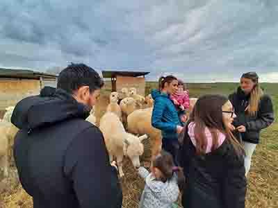 visita allevamento di una famiglia
